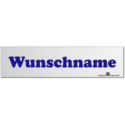 Namensschild für Hundeboxen 280x70mm mit deinem Wunschtext blau