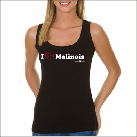 "Ladies' Tank Top Black ""I love Malinois"""