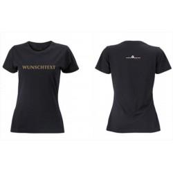 Premium-T-Shirt Damen schwarz mit mit MG-Logo und deinem WUNSCHTEXT