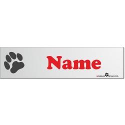 """Namensschild für Hundeboxen 280x70mm mit """"Pfoten-Symbol"""" und Name rot"""