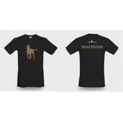 Premium-T-Shirt Damen schwarz mit Mali-Kontur und Text Malinois