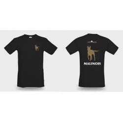 Premium-T-Shirt Herren schwarz mit Mali klein und gross und MALINOIS als Text