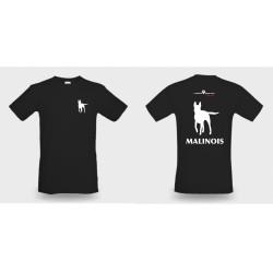 Premium-T-Shirt Herren schwarz mit Mali klein und gross und MALINOIS als Text alles weiss