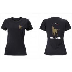 Premium-T-Shirt Damen schwarz mit Mali klein und gross und MALINOIS als Text