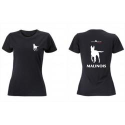 Premium-T-Shirt Damen schwarz mit Mali klein und gross und MALINOIS als Text alles in weiss