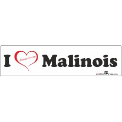 "Aufkleber ""I love Malinois"" 200x50mm"
