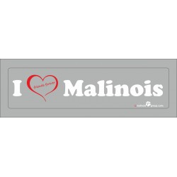 "Aufkleber transparent ""I love Malinois"" 200x50mm"
