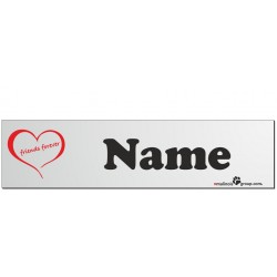 """Namensschild für Hundeboxen 280x70mm mit """"Herz-Symbol"""" und Name schwarz"""